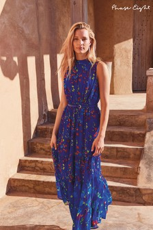 Phase Eight Cobalt Blue Henriette Tiered Belted Maxi Dress