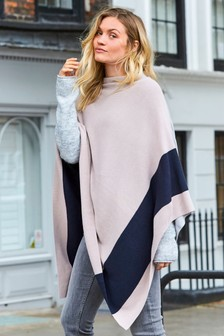 Poncho motif color block