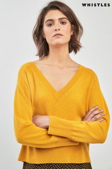 Whistles Oversized V-Neck Cashmere Knit