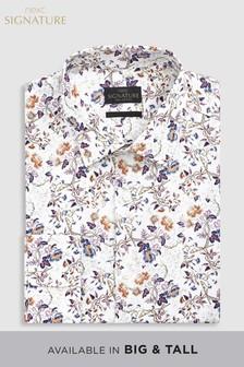 Коллекционная рубашка классического кроя с принтом и манжетами на пуговицах