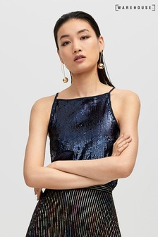 Warehouse Blue Sequin Beaded Cami Top