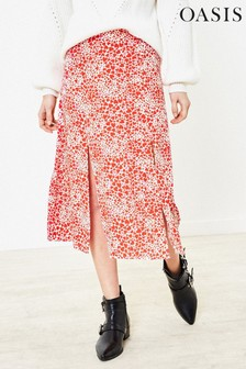 Oasis Red Heart Midi Skirt