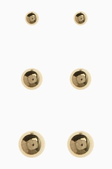 18 Carat Gold Plated Studs Three Pack