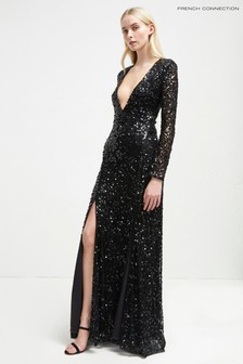 French Connection Black Sequin Maxi Dress