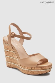 Kurt Geiger Tan Leather Ally Wedge Sandal