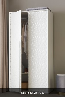 Mode White Textured Double Wardrobe