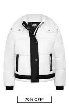 Girls White/Black Padded Jacket