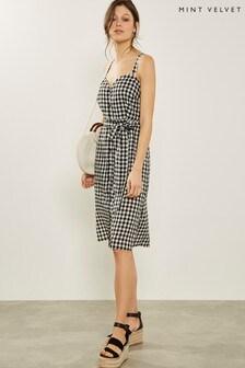 Mint Velvet Black/Ivory Gingham Dress