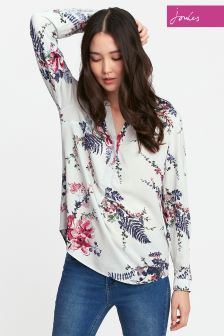 Joules Silver Floral Rosamund Blouse