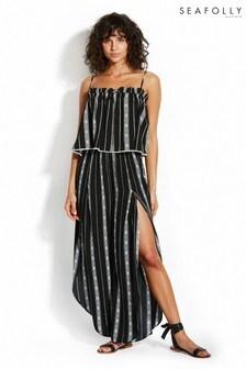 Seafolly Black Lattice Stripe Wrap Pant