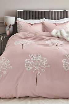 Cotton Sateen Embroidered Allium Collection Luxe Duvet Cover and Pillowcase Set