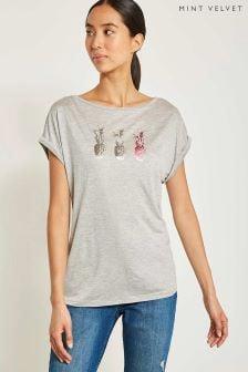 T-shirt Mint Velvet Pop gris/rose à motif ananas