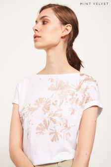 Mint Velvet White Pressed Foil Flower Tee