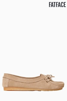 FatFace Natural Suede Bow Moccasin