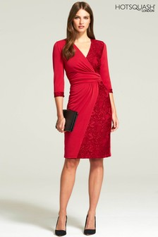 HotSquash Red Lace Detail Jersey Wrap Dress