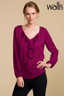 Wallis Petite Purple Frill Front Top