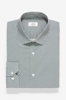 Эластичная хлопковая рубашка узкого кроя с геометрическим принтом и прямыми манжетами