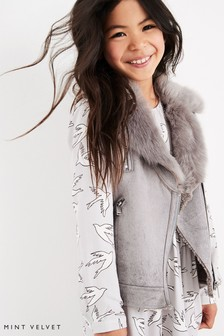 Mintie by Mint Velvet Grey Suedette Faux Fur Mix Biker Gilet