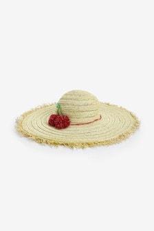 Floppy Cherry Pom Hat