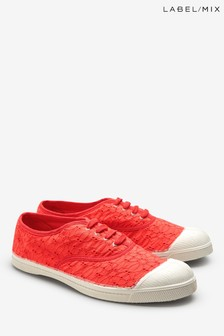 Mix/Bensimon Red Floral Broderie Plimsoll