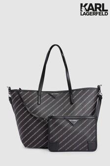Karl Lagerfeld Black Stripe Logo Shopper Bag