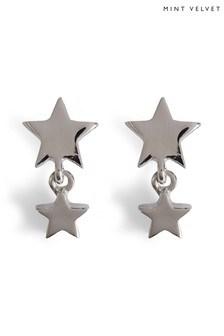 Mint Velvet Silver Tone Star Drop Earrings