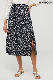 Monsoon Blue Natty Ditsy Print Skirt