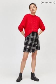 Warehouse Black Check Woven Pelmet Skirt