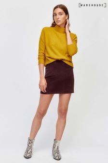 Warehouse Red Velvet Skirt