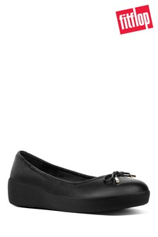 FitFlop™ Black Superbendy Ballerina Leather Shoe