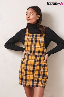 Superdry Yellow Check Pinafore Dress