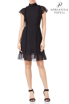 Adrianna Papell Black Chiffon Dress