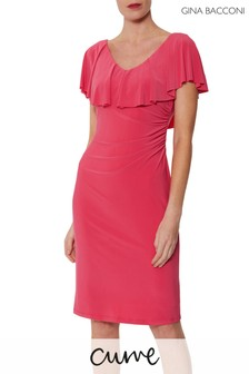 Gina Bacconi Pink Sherilyn Dress With Frill Neckline