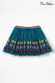 Boden Blue Appliqué Tulle Skirt