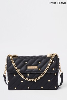 River Island Black Pearl Detail Underarm Bag