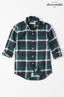 Abercrombie & Fitch Grey Plaid Long Sleeve Shirt