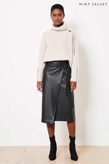 Mint Velvet Black Faux Leather Wrap Skirt