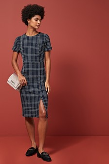 Grid Jacquard Button Shift Dress