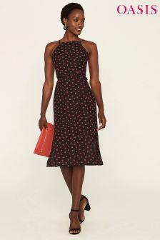 Oasis Black Column Print Midi Dress