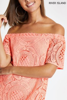 River Island Fluro Coral Lace Swing Top