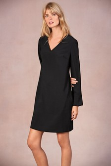 c0ddc51ba6f84 Long Sleeve Crepe Dress