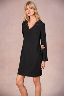 Платье из крепа с длинным рукавом