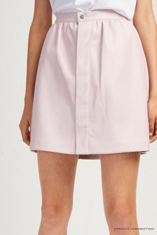 French Connection Pink Bia PU Mini Skirt With Pockets