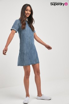 Superdry Blue Acid Wash T-Shirt Dress