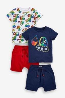2 Pack T-Shirt And Shorts Set (3mths-7yrs)
