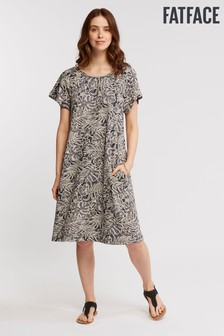 FatFace Grey Lucy Linear Leaves Dress