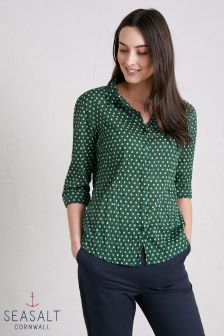 Seasalt Green Polka Dot Dark Forage Larissa Shirt