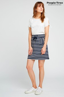 People Tree Navy Organic Cotton Leia Stripe Skirt