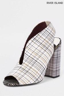 f877be60e5d River Island Grey Print Curve Vamp Block Heel Shoe Boot