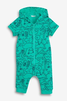 Sea Print Hooded Romper (0mths-2yrs)
